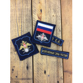 Комплект нашивок Военное представительство ВКС МО РФ фон синий голубой кант с липучками вышивка шелк