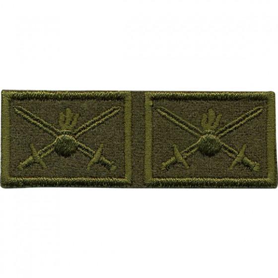 Эмблема петличная с липучкой Сухопутные войска нового образца полевая вышивка шёлк