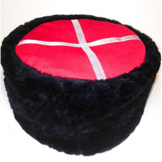 Кубанка из облагороженной овчины красный верх