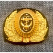 Кокарда ВМФ офицерская вышивка канитель краб
