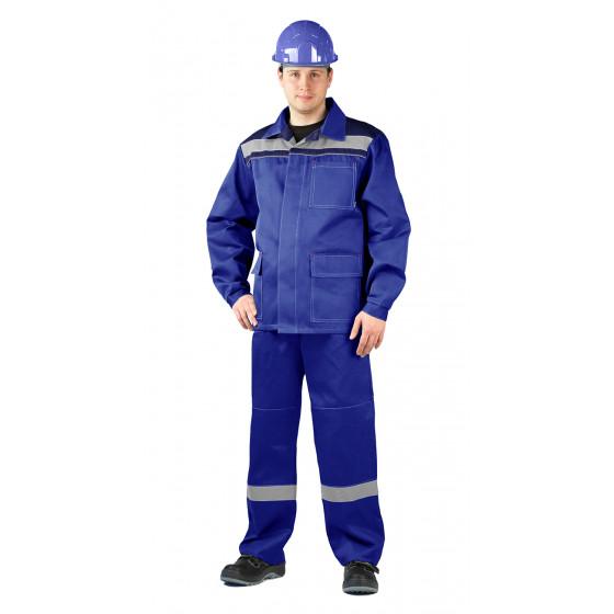 Костюм АКТУАЛ куртка/брюки, цвет: василек/т.синий, ткань : саржа