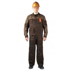 Костюм мужской Профи летний с полукомбинезоном св.коричневый/коричневый/оранжевый