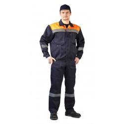 Костюм мужской Легион летний с полукомбинезоном темно-синий с оранжевым