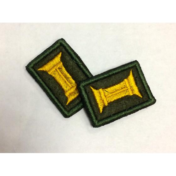 Петличные эмблемы офицерские оливковые с оливковым кантом шелк