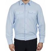 Рубашка Генерал Полиции серо-голубая с длинным рукавом индивидуальный пошив