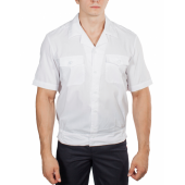 Рубашка ПОЛИЦИЯ белая с коротким рукавом на резинке с отложным воротником