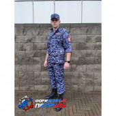 Костюм полевой облегченный РОСГВАРДИЯ, длинный рукав, (цвет синяя точка, вискоза )