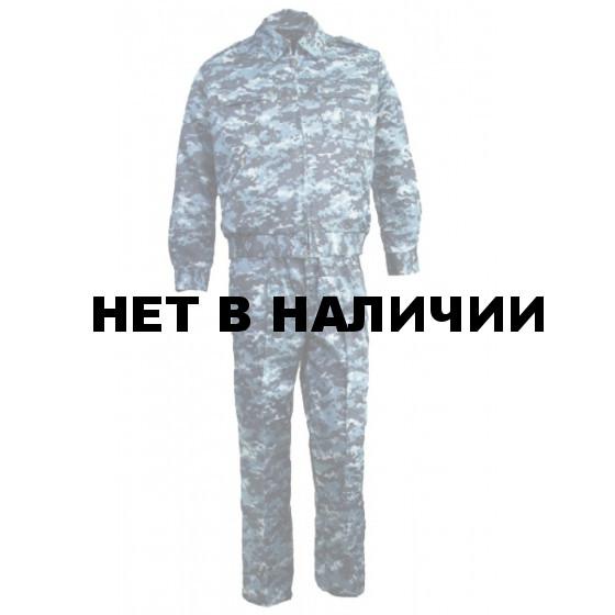 Костюм летний ГЕФЕСТ, камуфляж серо-голубая цифра крупная, Мираж