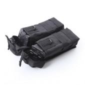 Подсумок KE под АК патрульный двойной с бесшумной застежкой со стропами черный