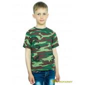 Футболка детская Woodland dark green Camo короткий рукав