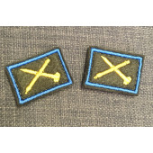 Эмблема петличная оливка кант голубой выш. жёлтая ЗЕНИТНО-РАКЕТНЫЕ ВОЙСКА с липучкой