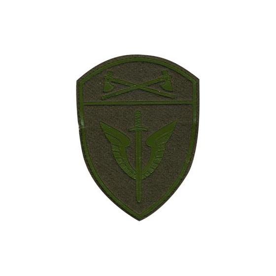 Нашивка на рукав с липучкой Росгвардия Приволжский Округ ОМОН полевая фон оливковый пластик