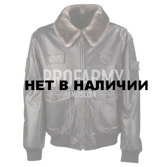 Куртка черная из натуральной кожи Madras Black 7167 натуральный мех