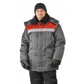 Куртка зимняя УРАЛ цвет: темно серый/красный
