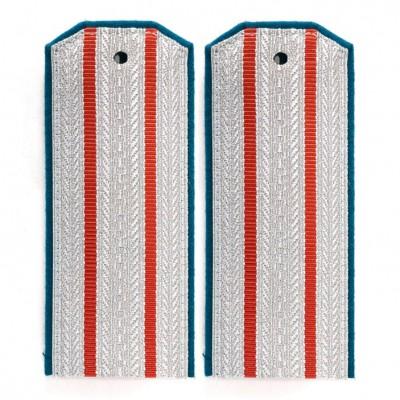 Погоны казачьи офицерского состава 2 красных просвета голубой кант
