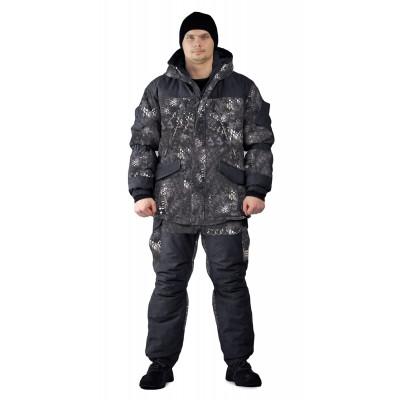 Костюм зимний «ГЕРКОН» куртка/брюки, цвет:, камуфляж черный питон, ткань : Алова/Кошачий глаз