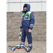Костюм ДПС зимний с сигнал. вставками (мембрана Локкер, подкладка фольга, наполнитель холофайбер)