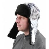 Шапка Буран, камуфляж снежный лес, ткань Алова