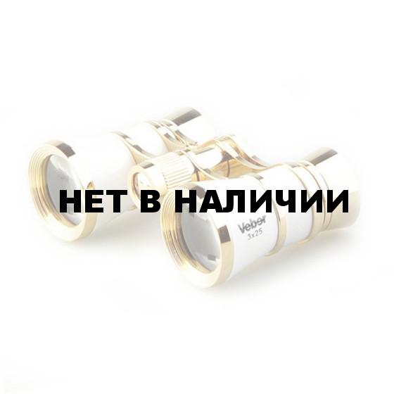 Бинокль театральный Veber Opera БГЦ 3x25 белый/золотой