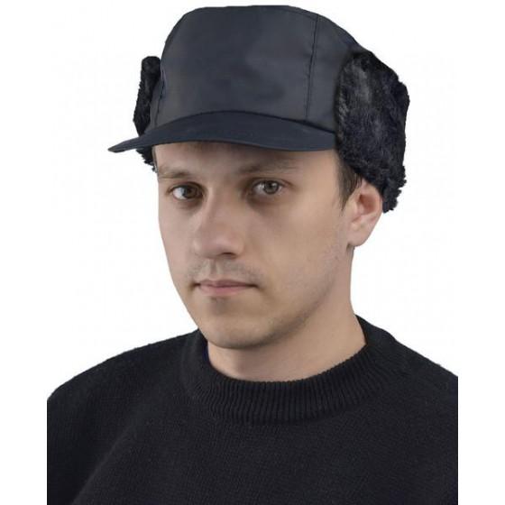 """Кепка """"Охрана"""" утепленная с мехом черная"""