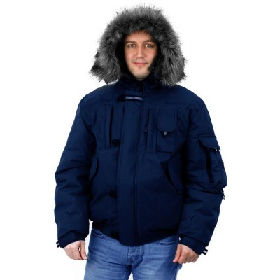 Куртка мужская на поясе Аляска-Премиум т-синяя
