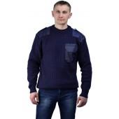 Джемпер форменный темно-синий с накладками