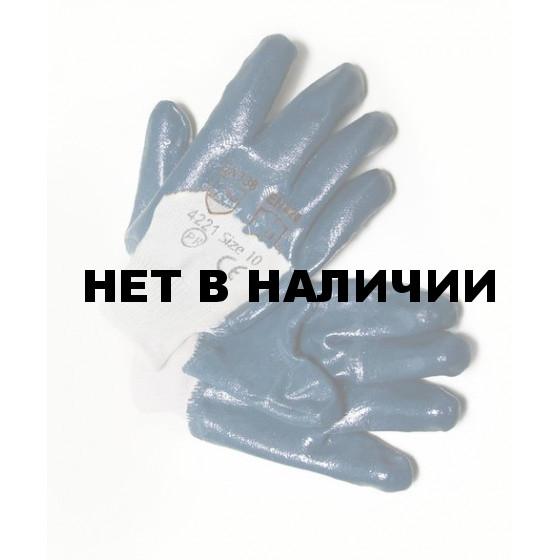 Перчатки нитриловые, манжет, частичное покрытие