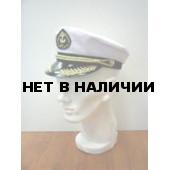 Капитанка 4-1 вышитый козырек, белая, с регулировкой, шелк.шнур