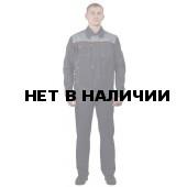 Костюм мужской Фаворит, ткань САРЖА 100% хлопок летний с полукомбинезономсерый со св.- серым