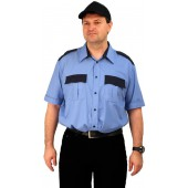 "Рубашка мужская ""Охрана"" (кор. рукав) голубая с т-синим"