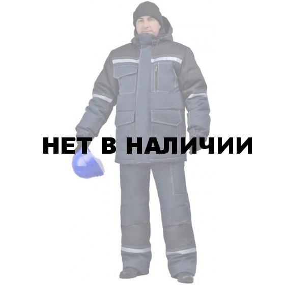 Костюм мужской Инженер (Термофайбер) зимний т-синий с черным (Амулет)