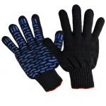 Перчатки х/б Профи-Люкс ПВХ-Волна черные 7,5кл