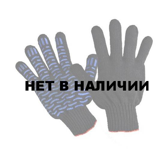 Перчатки трикотажные ЧЁРНЫЕ х/б, ПВХ Люкс-Волна