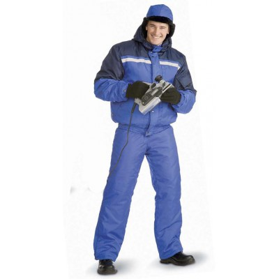 Костюм зимний СТИМ куртка/полукомб. цвет: василек/т.синий