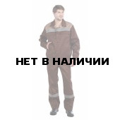 Костюм мужской Оптимал летний, коричневый с бежевым СОП 50 мм.