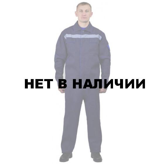 Костюм мужской Лидер летний с полукомбинезоном т-синий с васильковым