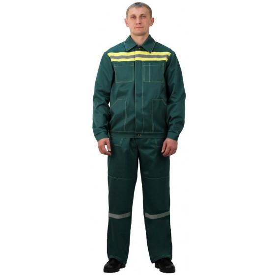 Костюм мужской Строитель с полукомбинезономт-зеленый с желтым