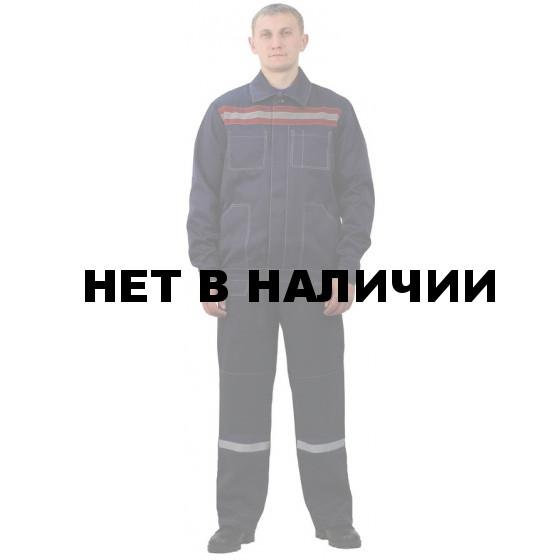 Костюм мужской Строитель с полукомбинезоном темно-синий с бордовым