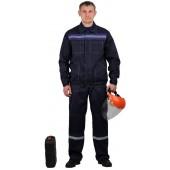 Костюм мужской Строитель с полукомбинезономт-синий с васильковым