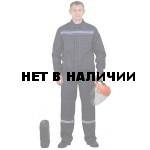 Костюм мужской Строитель с полукомбинезоном темно-синий с васильковым