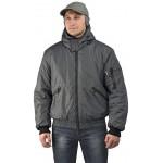 Куртка мужская Бомбер демисезонная, ткань Джордан серая (с капюшоном)