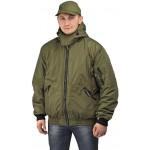 Куртка мужская Бомбер демисезонная, ткань Джордан хаки (с капюшоном)