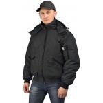 """Куртка мужская """"Бомбер"""" демисезонная, ткань Джордан чёрная (с капюшоном)"""