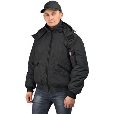 Куртка мужская Бомбер демисезонная, ткань Джордан чёрная (с капюшоном)