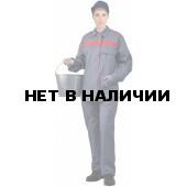 Костюм женский Актуал летний с полукомбинезоном серый с красным 100% хлопок