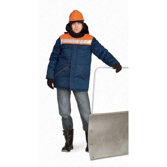 """Куртка мужская """"Вьюга"""" т-синяя с оранжевым"""