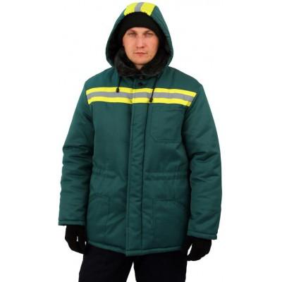 Куртка мужская Урал зимняя с мех. воротником т-зелёная с желтым