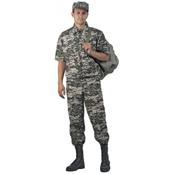 """Костюм мужской """"Тропик"""", ткань Тиси сорочечная-облегченная, камуфляж """"светло-серая цифра"""""""