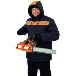 Куртка мужская Урал зимняя с мех. воротником т-синяя с оранжевым