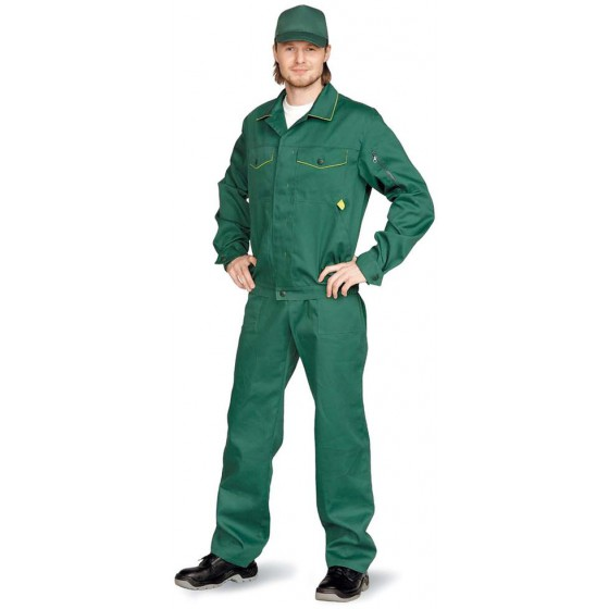 """Костюм мужской """"Дока"""" с брюками т-зеленый с лимонным"""